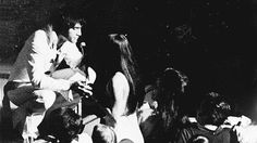 """I know this girl""; Priscilla Presley approaches the stage during Elvis' show in Las Vegas, NV, August 14, 1970"