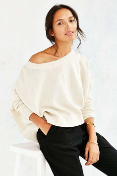 Boxy sweater for off-the-shoulder styling.