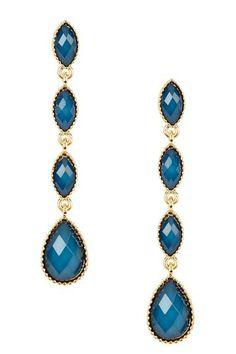 Gold & Blue Stone Teardrop Earrings by Fall Trend: Rich Jewel Tones on @HauteLook