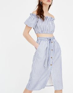 Buy Women's Skirt Suit Slash Neck Short Sleeve Blouse Striped Pattern Skirt Suit & Women's Two Pieces Suits - at Jolly Chic Pull & Bear, Suits For Women, Clothes For Women, Pajama Outfits, Winter Skirt, Corduroy Skirt, Off Shoulder Tops, Skirt Suit, Short Sleeve Blouse