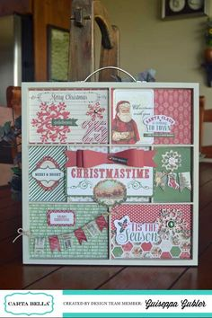 Christmas Time Altered Tray *Carta Bella* by seppa Christmas Crafts To Make, Christmas Activities, Holiday Crafts, Christmas Holidays, Christmas Cards, Christmas Decorations, Happy Holidays, Christmas Ideas, Scrapbook Paper Crafts