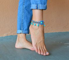 Your place to buy and sell all things handmade Beach Anklets, Ankle Bracelets, Jewelry Bracelets, Female Feet, Bare Foot Sandals, Ceramic Beads, Gypsy Style, Bride Gifts, Turquoise Stone
