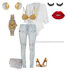 A fashion look from November 2016 featuring white ripped jeans, lingerie bra and christian louboutin shoes. Browse and shop related looks. Classic Outfits, Chic Outfits, Fashion Outfits, Fashion Trends, Fashion Inspiration, Summer Outfits, White Ripped Jeans, Girl Fashion, Womens Fashion