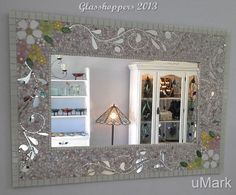 Vintage style mirror by Glasshoppers 2013 www.glasshoppers.co.za Mirror Mosaic, Mirror Art, Diy Mirror, Mosaic Art, Mosaic Glass, Mosaic Tiles, Glass Art, Mirror Crafts, Beautiful Mirrors