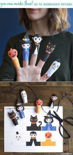 DIY Halloween paper finger puppets -- spooktacular fun for everyone! These finger puppets are so easy to create with the help of a Canon printer. Halloween Finger, Theme Halloween, Halloween Arts And Crafts, Easy Halloween, Halloween Treats, Halloween Decorations, Paper Halloween, Halloween Stuff, Halloween Activities For Kids