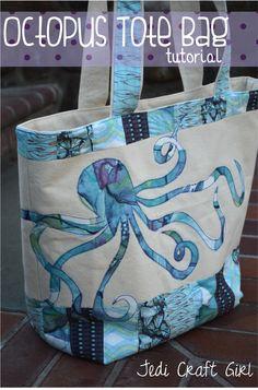 Jedi Craft Girl: Octopus Tote Bag #octopus #tote_bag #sewing_tutorial