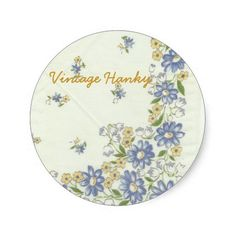 Vintage Hanky Stickers #handkerchief #flowers #floral #printed #blue #yellow