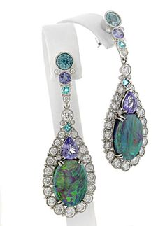 Best Use of Color: Deirdre Featherstone, Featherstone Design - Platinum earrings featuring removable Opal enhancers (15.64 ctw.) accented with blue Zircons (3.27 ctw.), Tanzanites (3.53 ctw.), Paraiba Tourmalines (.40 ctw.) and Diamonds. (5.79 ctw.)