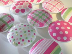Kid Knobs- Children's Drawer Knobs- Hand Painted Wood Knobs - Stripes, Polka Dot and Plaid Knobs Pink and Green - Size 2 inches-SET OF 12 Diy Pink Furniture, Teal Painted Furniture, Ikea Garden Furniture, Modern Rustic Furniture, Geometric Furniture, Colorful Furniture, Painted Wood, Furniture Ideas, Painted Rocks