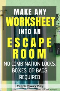 Turn any worksheet into an escape room in the classroom. Using an escape room in the classroom is a super fun way to engage your students in any topic. But you do not need to spend countless hours making one! Escape The Classroom, Future Classroom, School Classroom, Google Classroom, Science Classroom, Teaching Science, Science Experiments, Science Labs, Fun Classroom Activities