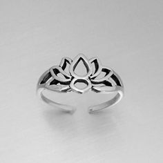 Lotus Silhouette Toe Ring, Midi Ring, Pinky Ring,Knuckle Ring Sterling Silver by IndigoandJade on Etsy
