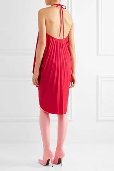 Balenciaga - Convertible Pleated Stretch-satin Halterneck Dress - Red - FR34