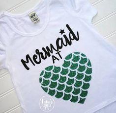 Mermaid at Heart, Mermaid Tshirt, Mermaid Shirt, Mermaid Birthday, Mermaid… Beach Shirts, Cute Shirts, Vacation Shirts, Summer Shirts, Shirts For Girls, Kids Shirts, Mermaid Shirt, Mermaid Mermaid, Mileena