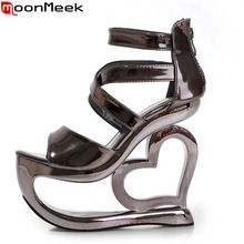 2016 fashion summer New Gladiator women sandals 15cm strange high heels wedges party nightclub casual shoes(China (Mainland))