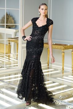 ALYCE Claudine 2325 Beaded Lace Tulle Gown Black $895 & FREE WORLD SHIPPING..PICK UP YOUR ORDER FROM US AND RECEIVE 10% OFF