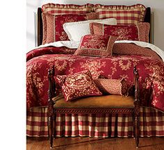 "Country House Toile Bedding...I just can't get enough of the ""RED"" buffalo check and toile together.  Just gorgeous!!"