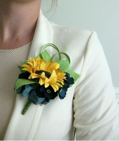 Handmade Paper Sunflower Corsage by RosyPaperPosies on Etsy