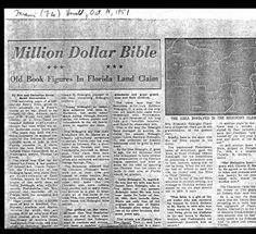 Matthew Ridaught Family Bible, from the Miami Daily Herald.