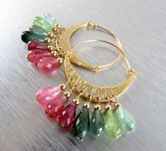 Watermelon Tourmaline Hoop Earrings by SurfAndSand on Etsy Watermelon Tourmaline, Beaded Top, Bangles, Bracelets, Pink And Green, Hoop Earrings, Bling, Jewels, Beaded Jewelry