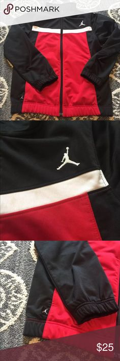 Boys L Air Jordan jacket EUC Bous air Jordan jacket. Black, red and white. Size L Michael Jordan Jackets & Coats