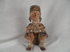Mayan Statue-Aztec Sitting Terracotta Warrior-Pre Colombian Art Figurine-Mayan Whistle Pottery by BCScollectibles on Etsy