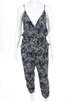 0ed7e567a748 Parker Black Silk Elastic Waist V- Neck Pants Jumpsuit Size Extra Small   Parker