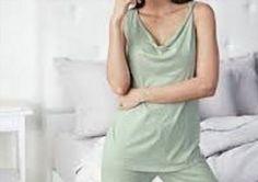 66.49$  Buy now - http://vivzc.justgood.pw/vig/item.php?t=8jbkr438451 - EILEEN FISHER XL 16 18 Shorty Pajamas Pure Cotton Twist Neck Pale Green NWT