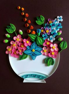 Flowers in a Bowl - Quilled - Original - Handmade - Frame not included.