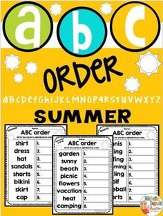 ABC Order - ABC Order summer themed printables - This summer resource is perfect to practice alphabetical order. It includes 3 printables and answer keys.