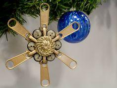 Zipper and button snowflake ornament