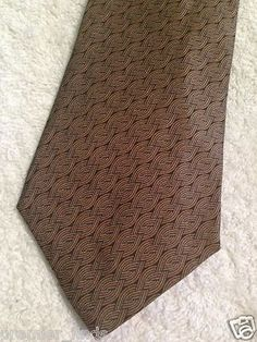 Hermes Paris France Mens Neck Tie Brown Intertwined Braided Chain Print