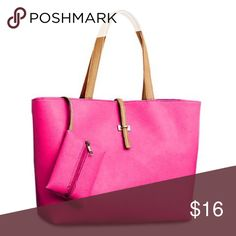 """💕FINAL PRICE!! 💕 PINK BAG PINK W/BUCKLE DESIGN This shoulder bag/tote comes in a beautiful shade of pink. Made of polyurethane. Zipper closure. Inside zipper pocket as well as two additional cell phone type pockets. Has another zippered pouch that is attached from inside of the bag and can be kept inside. Very versatile tote. Approx 14L"""" x 4.75W"""" x 10.25H"""". Brand new from company but no tags attached. Bags Shoulder Bags"""
