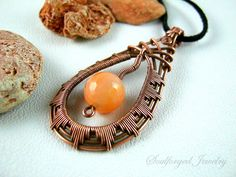 Wirewrapped copper tear pendant with fiery agate by SoulforgedJewelry on Etsy