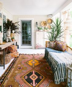 bohemian modern porch with moroccan inspired textiles. / sfgirlbybay Apartment Interior Design, Bohemian Interior Design, Ceiling Fan, Bohemian Rug, Shag Rug, Indoor, Fashion Design, Rugs, Woodworking Classes