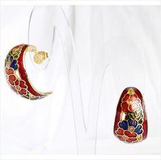 Red cloisonne enamel hoop earrings jewellery