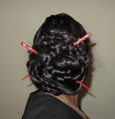 4 braids, A frech braid in the middle, two dutch lace braids on either side, and a final rope braid near the nape of the neck. then made a 4 strand braid with the 4 individual braid and held altogether with two hairsticks Bun Hairstyles For Long Hair, Braids For Long Hair, Braided Hairstyles, 4 Strand Braids, 4 Braids, Rope Braid, Braided Updo, Sock Buns, Thick Braid