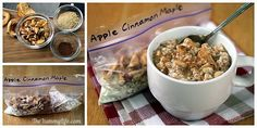 DIY Apple Cinnamon Maple Instant Oatmeal (for hot or refrigerator oatmeal)... Apple Cinnamon Maple -- To the basic oatmeal mix, add 2 T. dried or 1/4 cup freeze-dried chopped apples; additional 1/4 tsp. cinnamon; and use maple sugar for sweetener.
