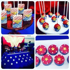 Fantastic desserts at a Wonder Woman birthday party! See more party ideas at CatchMyParty.com!
