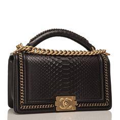 fa4405644850b5 Chanel Black Python Medium Boy Bag with Handle at 1stdibs #chanelboyhandle