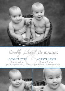 Mixbook Doubly Blessed Band Twins Birth Announcements