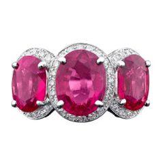 Three-Stone Rubellite and Diamond Ring