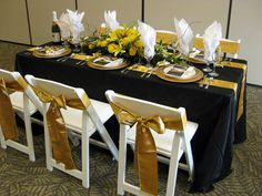 "square table decoration for a reception | Banquet Table: Black Pintuck 90"" x 132"", two Gold Satin sashes"