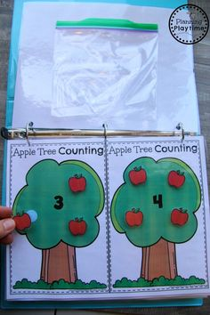 I hope these ideas and Interactive Math Binder are fun and helpful for the students you work with. Fall Preschool, Preschool Lesson Plans, Kindergarten Activities, Toddler Activities, Educational Activities, Math Binder, Colors For Toddlers, Apple Activities, Apple Theme