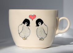 Handmade Coffee Mug Penguins in Love Mug Ceramic by abbyberkson,