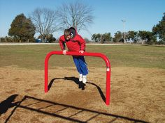 The Vault Bar is great for vaulting and stretching. Physical fitness trainer for vaulting, hand stands, and leg stretching. Built strong for commercial use in parks, schools, and playground areas. Outdoor Fitness Equipment, No Equipment Workout, Pole Climbing, Noah's Park, Fitness Trail, Fitness Courses, Punitive Damages, Commercial Playground Equipment, Childhood Obesity