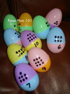 Easter Egg math center where students have to match the number to the right amount of dots. Can also be played as a class game where each child gets a half and has to race to find the person with the matching half. CCSS.MATH.CONTENT.K.CC.B.4 Understand the relationship between numbers and quantities; connect counting to cardinality.