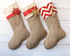 Chevron and Burlap Christmas Stockings | christmas stocking red ivory co llection set of 3 burlap stockings 105 ...
