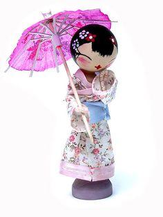 japanes geisha clothespin doll peg doll