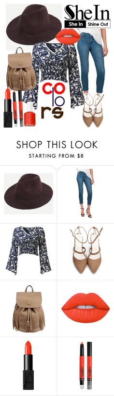 """""""Splash Of Red"""" by emerald-roses ❤ liked on Polyvore featuring Standards & Practices, Lime Crime, NARS Cosmetics, Maybelline and Essie"""