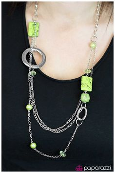 silver chain green pearls necklace $5